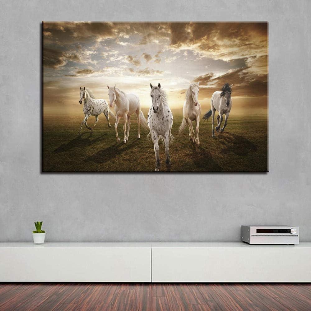 Knncch Siete caballos blancos Cuadros de pared para sala de estar Decoración moderna para el hogar Cartel Estilo nórdico Minimalista Lienzo Arte Hd Impresión Pintura-40x50cm