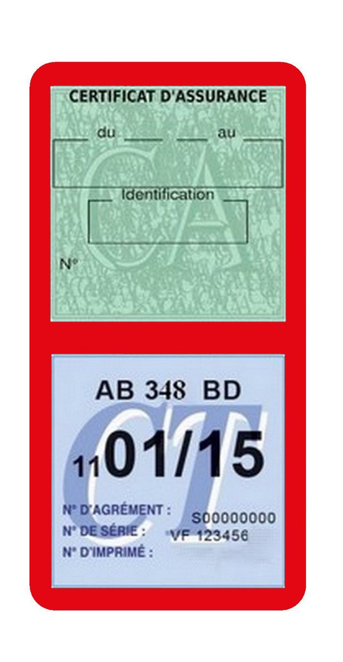 Rouge G/én/érique Porte /étui Double Vignette Assurance Voiture Neutre sans marquage Stickers Auto r/étro
