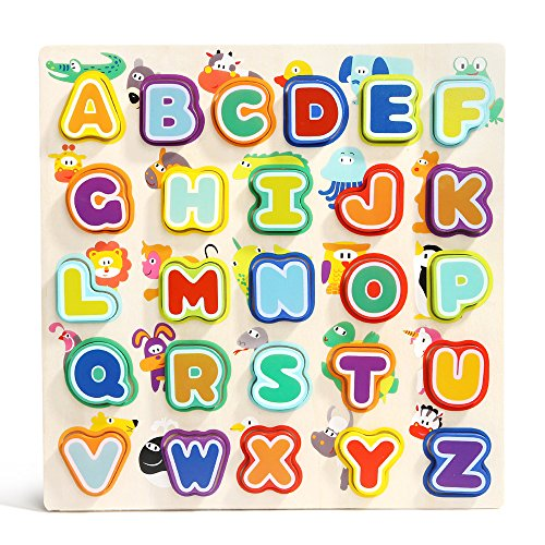 Wooden Alphabet Puzzle for Toddler - TOP BRIGHT Learning Uppercase Letters Puzzles Toys