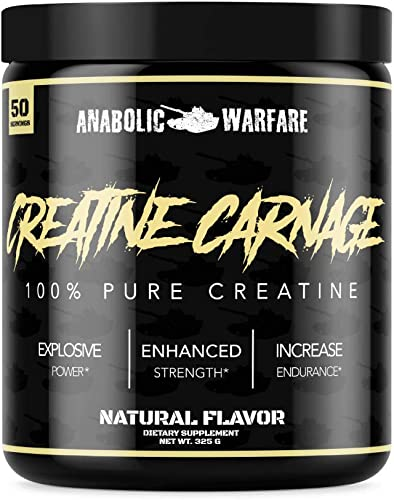 Creatine Carnage Creatine Powder by Anabolic Warfare Creatine NF to Help Build Lean Muscle Natural Flavor 50 Servings