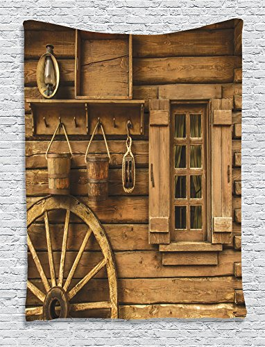 Ambesonne Western Decor Collection, Ancient Wagon Wheel Rustic Wooden Vintage Lantern Window and Buckets Picture, Bedroom Living Kids Girls Boys Room Dorm Accessories Wall Hanging Tapestry, Khaki