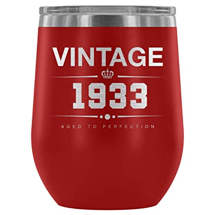1933 85th Birthday Gifts For Women And Men 12 Oz Wine Tumbler Cup