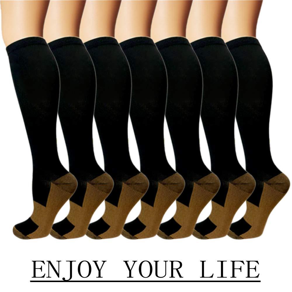 7 Pack Copper Knee High Compression Socks For Men & Women - Best For Running,Athletic,Medical,Pregnancy and Travel -15-20mmHg