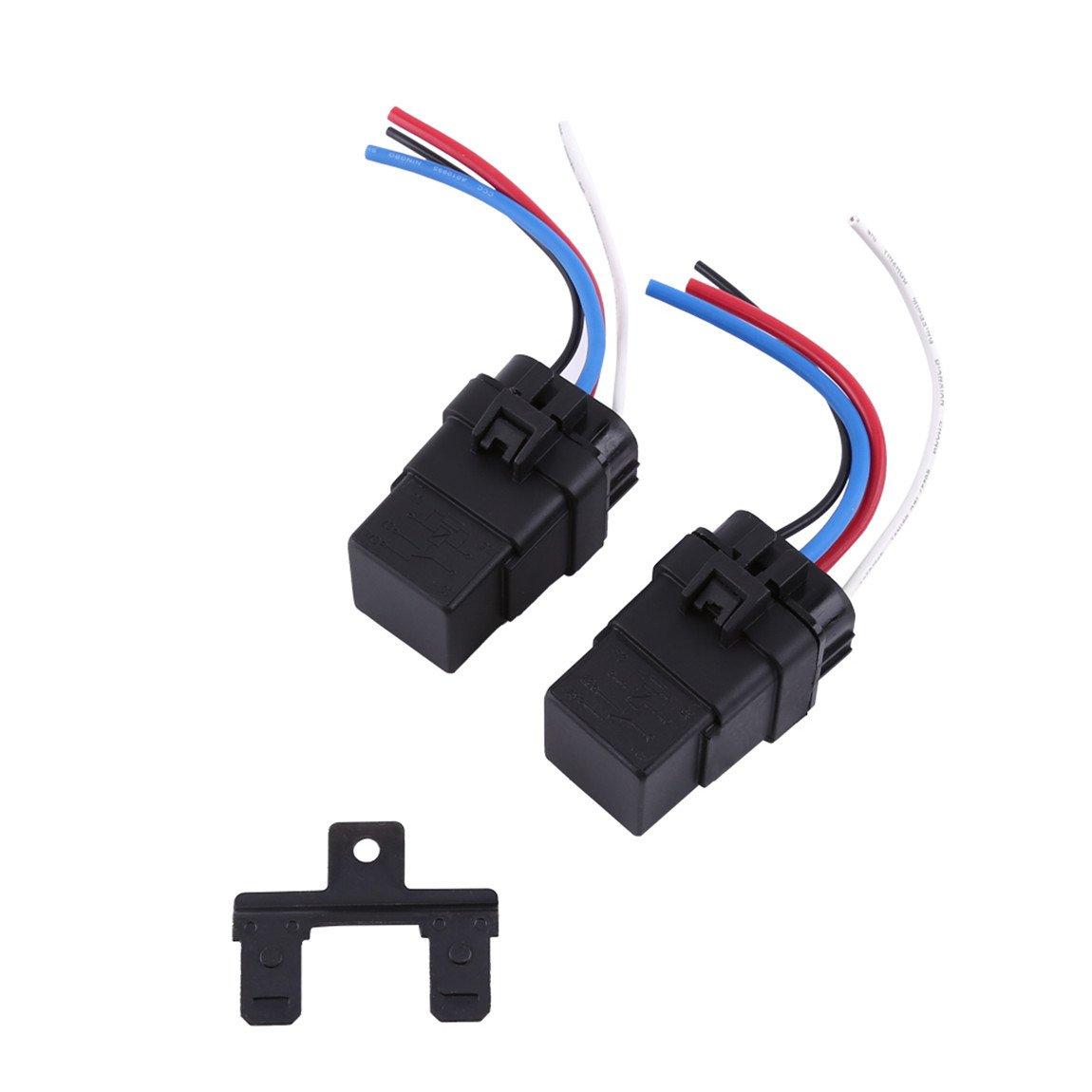 Car Truck Motor 12V 40A Relay Socket Plug 4Pin 4 Wire Waterproof Kit Pack of 2 Yosoo