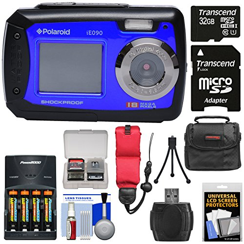 Polaroid iE090 Dual Screen Shock & Waterproof Digital Camera (Blue) with 32GB Card + Batteries & Charger + Case + Strap + Tripod + Kit