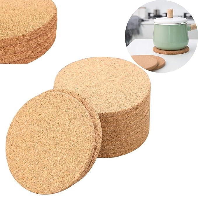 Amazon.com: 10 posavasos de madera de corcho para bebidas de ...