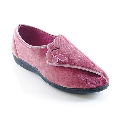 1ad6ff838d824 Textiles Universels Chaussons à fermeture Velcro - Femme (EUR 36) (Rose)