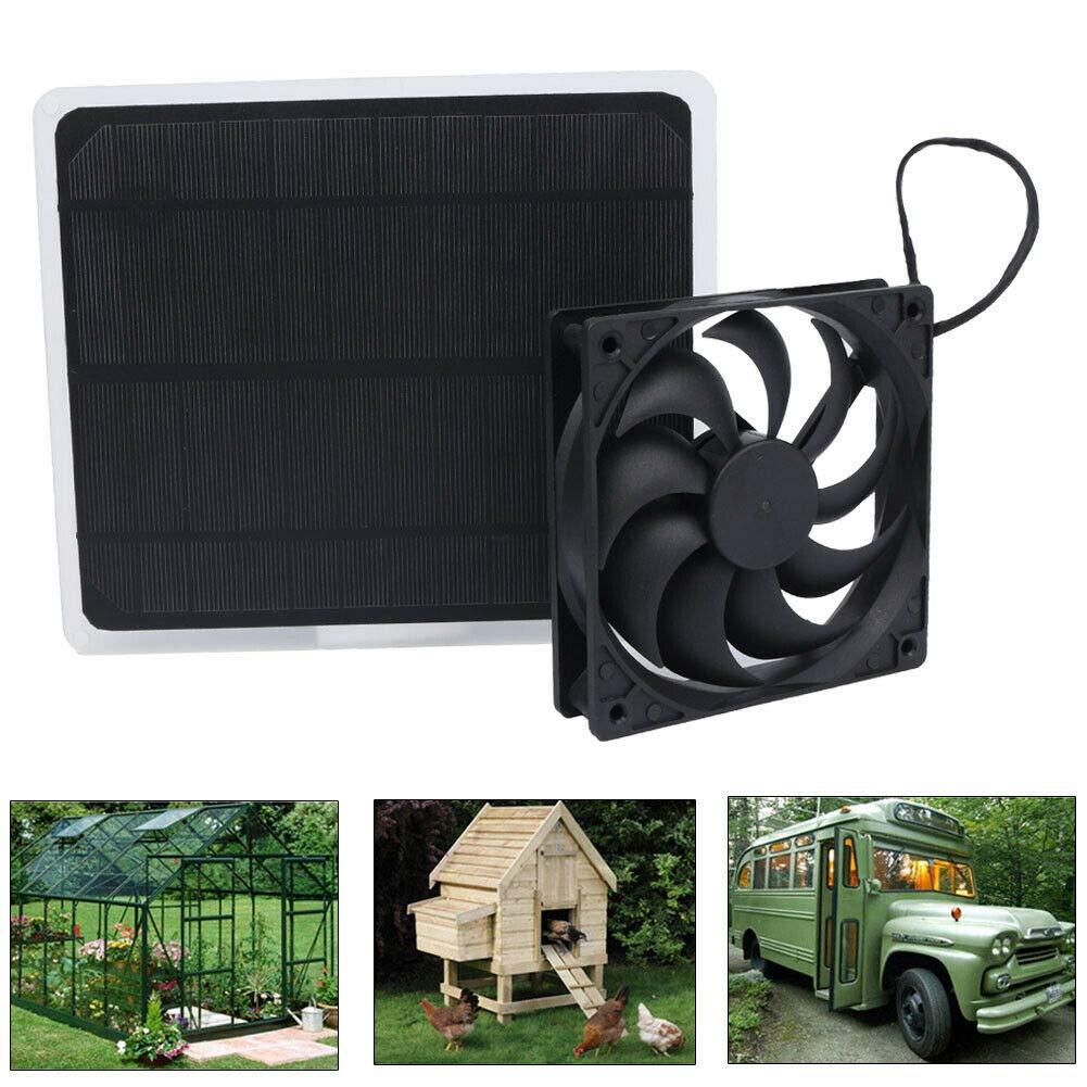 liuqingwind 10W 12V Solar Powered Exhaust Fan Greenhouse Dog Chicken House Mini Ventilator for Pets Dogs Cats by liuqingwind