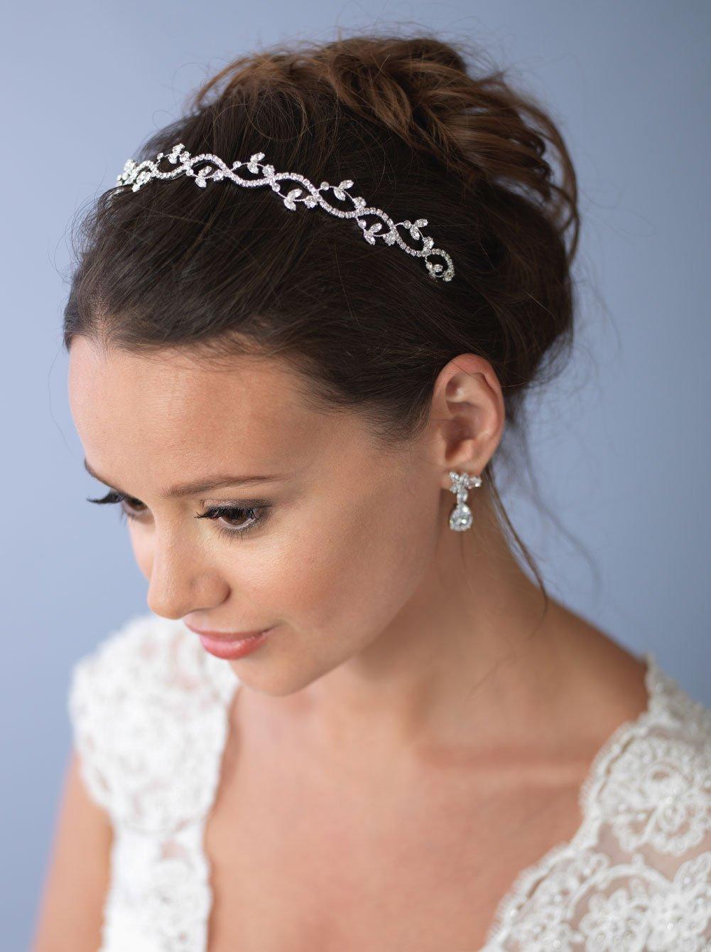 USABride Delicate Wedding Headband Bridal with Floral Rhinestone Hair Accessory 101