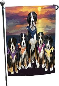 Family Sunset Portrait Greater Swiss Mountain Dogs Garden Flag GFLG52432