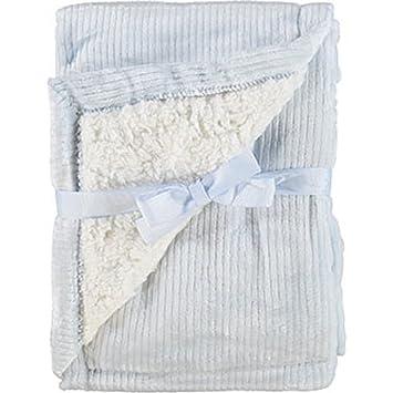 New MON LAPIN Luxurious Blue Plush Reversible Baby Blanket