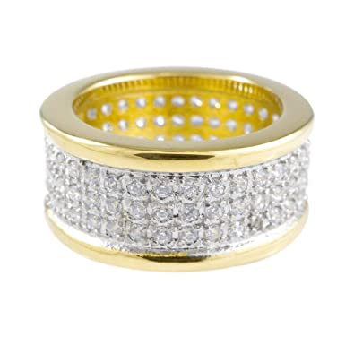aa8ea1c5e NIV'S BLING - 18K Yellow Gold-Plated Stainless Steel Cubic Zirconia  Micropave Pinky Ring (