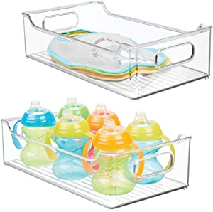 mDesign Wide Storage Organizer Container Bin, Handles for Kids/Child Supplies in Kitchen, Pantry, Nursery, Bedroom, Playroom - Holds Snacks, Bottles, Baby Food - Durable, 14.5