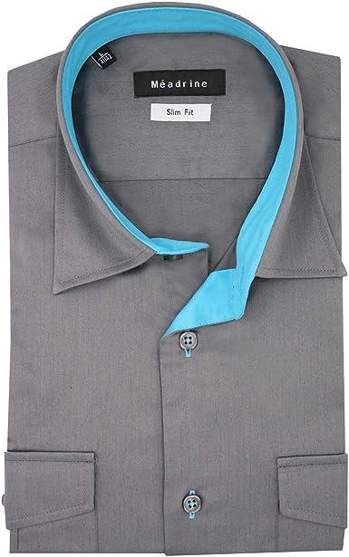 Meadrine Camisa de los Hombres Slim fit piloto Modelo Pizarra Gris con Pechos y Turquesa Forro Bolsillos: Amazon.es: Ropa y accesorios