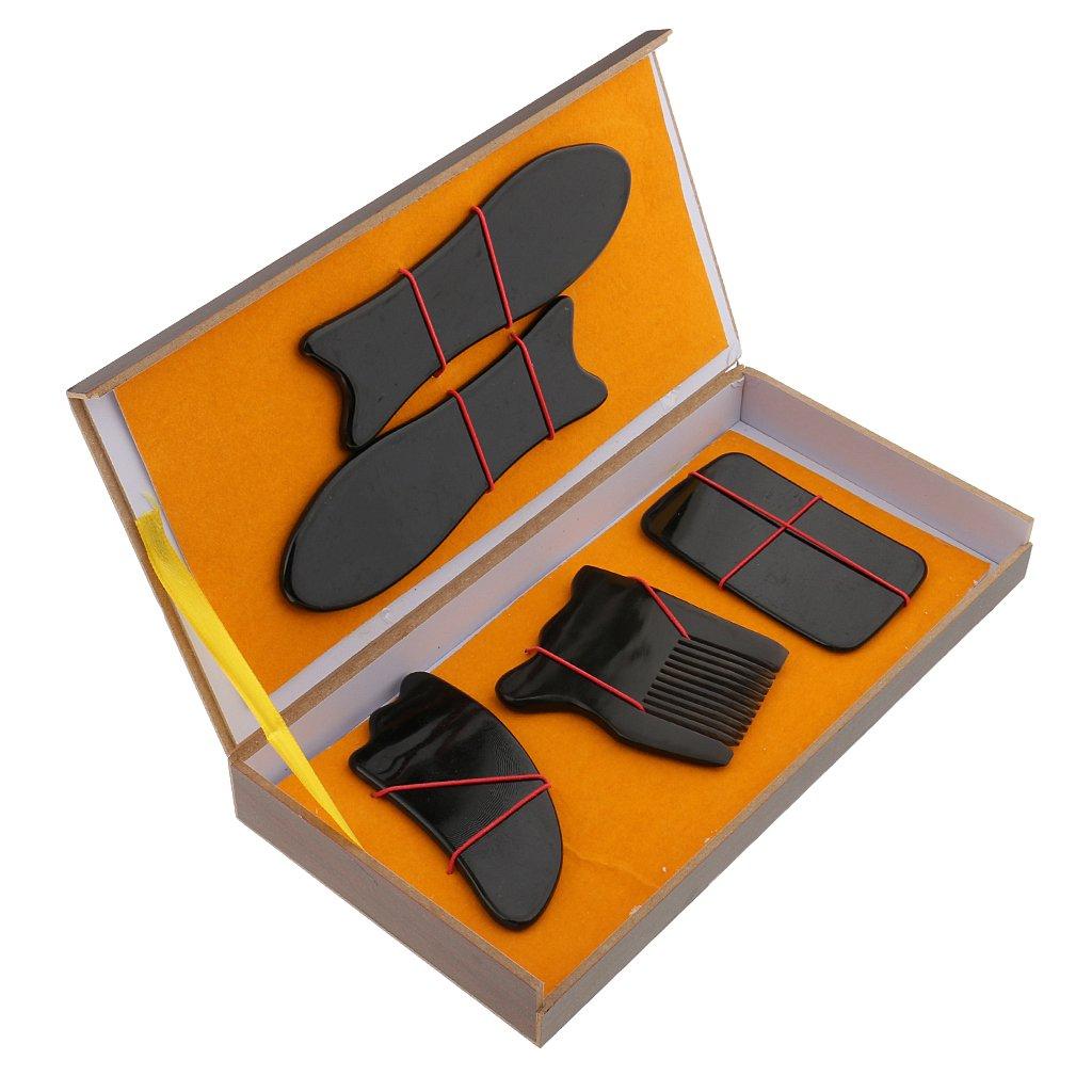 Sharplace 5Pz/Set Gua Sha Raschietto-Guasha Raschiare il Collo del Bordo Posteriore Massager Massaggiatore Punto di Completo del Corpo Schiena
