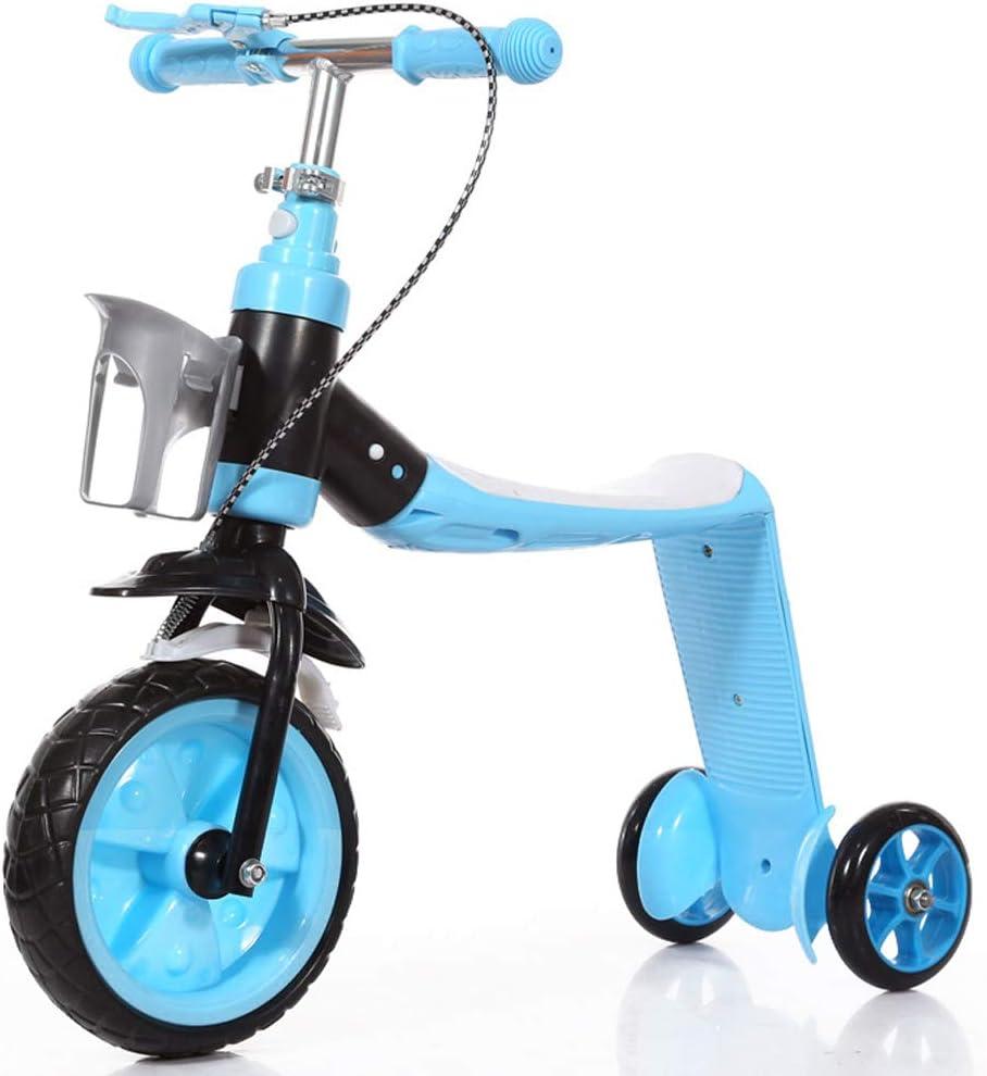Explopur Triciclo Scooter 2 en 1 para niños con Freno de Mano - Equilibrio para niños con 3 Ruedas Soporte Plegable con vástago Ajustable - para niños de 3 a 15 años Azul