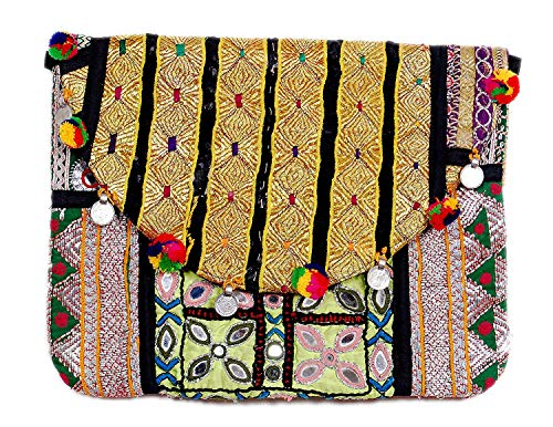 nic Embroidery Design Mirror Work Coined Lace Women Hand Clutch Bag for Women (Multicolor) ()