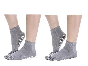 G 2 Pares Calcetines Antideslizantes para Yoga Pilates Ejercicios Deportivo (Gris): Amazon.es: Deportes y aire libre
