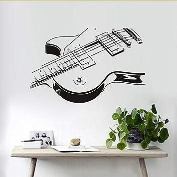 Cchpfcc Guitarra Eléctrica Etiqueta De La Pared 3D Pvc Creativo Guitarra Pegatinas De Pared Sala De Estar El Dormitorio Decora La Decoración Del Hogar 88 ...