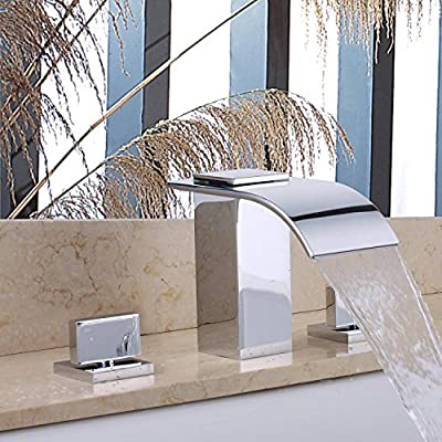 Bathroom Sink Faucet or Bath Tub Mixer Tap Waterfall Brass Contemporary Widespread Two Handles Three Holes Polished Taps Chrome Finish