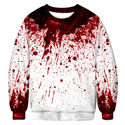 FEDULK Men Women Halloween Costume Pullover 3D Digital Print Long Sleeve Crew Neck Funny Tops Shirt(White1, X-Large)
