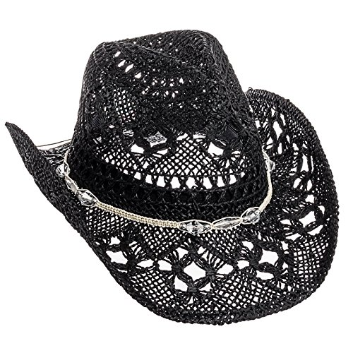 Dorfman Pacific Womens Straw Western Cowgirl Hat w/ Glass Beads (Black)