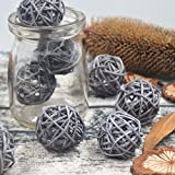 10PCS Gray Decorative Wicker Rattan Ball Vase Filler Wedding Baby Shower Festival Christmas Hanging Party Decoration Nursery Mobiles