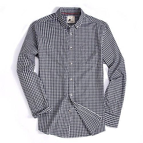 Alex Vando Mens Casual Button Down Shirts Modern Fit Plaid Shirts(Black/White,Small)