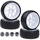4X RC Tires & Wheels Rims Sets Y Shaped Width:26mm 12mm Hex Drive Hub for 1/10 Scale On Road Touring Racing