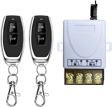 Two Remote Controls DONJON Wireless Remote Switch with 328ft Long Range DC 12V-72V for Anti-Theft Alarms Security Systems Roller Lind Door,Gate Barriers Motor Cycles etc