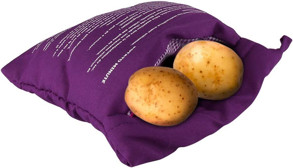 Microwave Potato Bag Baked Potato Microwave Baking Bag Washable Reusable Potato Cooker Pouch Fast in 4 Minutes (2 Pack, Purple)