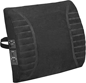 Comfort Products Massage Lumbar Cushion with Heat, Black