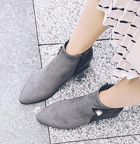Ankle Toe Bootsm Women's Pointed Heel Shoes Thick Ladies' Grey Mid QZUnique E41SnqPE