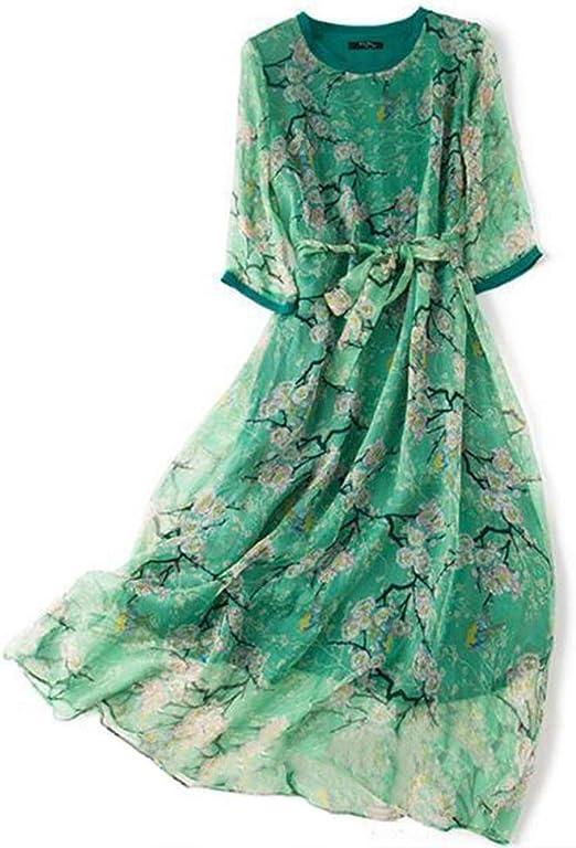 Caydenliu Vestido de Color Falda Larga de Seda de Seda de Seda de ...