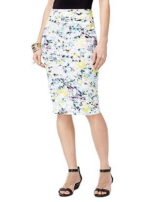 3a0bf2e691 Thalia Sodi Printed Scuba Pencil Skirt (Bright White Combo, S) at ...