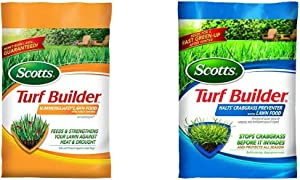 Scotts Turf Builder Lawn Food - Summerguard with Insect Control, 15,000-sq ft (Lawn Fertilizer Plus Insect Control) & Turf Builder Halts Crabgrass Preventer with Lawn Food, 15,000 sq. ft.