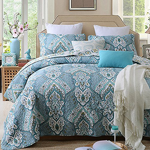 Decohome Antique Chic Full/Queen Quilt Set,Bedding Collection Reversible Bohemian Real Patchwork Gallery of Roses Cotton Quilt Bedspread Set, Multi-Colored,3PC -