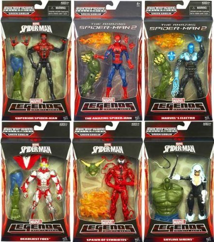 (Amazing Spider-Man 2 Marvel Legends Infinite Green Goblin BAF Complete Set of 6 Figures - Spider-Man, Superior Spider-Man, Electro, Carnage, Beetle and Skyline Sirens Black Cat)