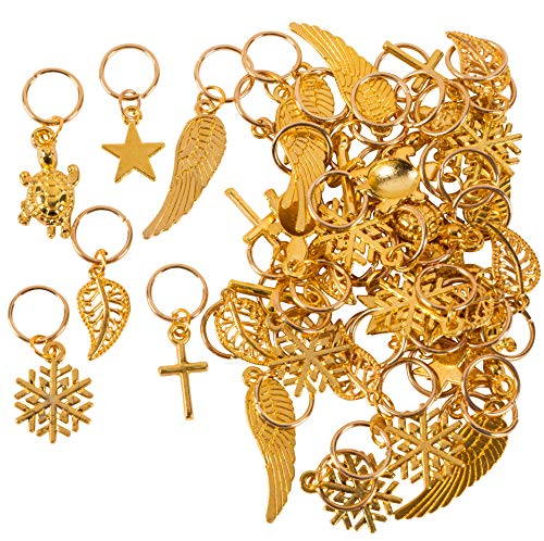 Gold Charms - 50-Piece Mixed Metal Charms with Key Rings, Antique Pendants, Alloy Charms, Perfect for Accessories Keychains Bracelets Necklaces DIY, Jewelry Making, Craft, Assorted Designs and Sizes ()