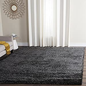 Safavieh Charlotte Shag Collection SGC720C Charcoal Area Rug, 8 Feet By 10  Feet (8u0027 X 10u0027)