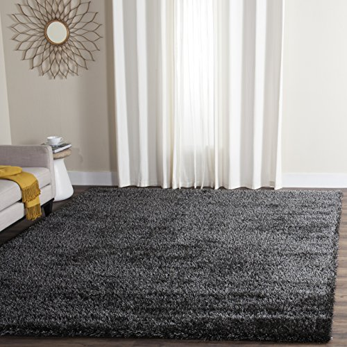 Safavieh Charlotte Shag Collection SGC720C Charcoal Area Rug, 8 feet by 10 feet (8' x 10') - Charcoal 8x10 Area