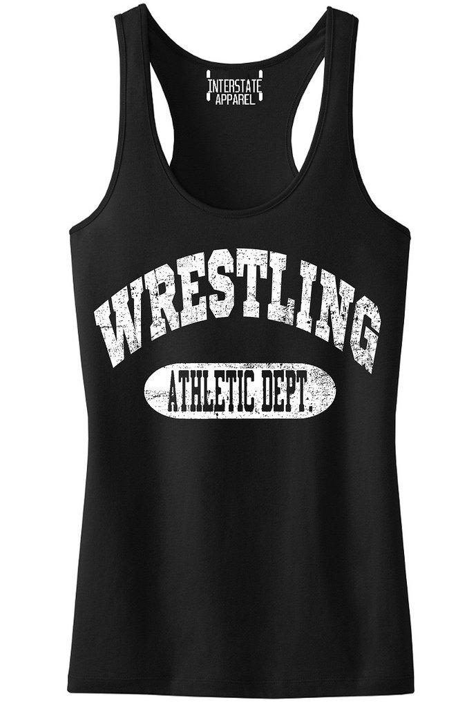 Interstate Apparel Inc Junior's Wrestling Athletic Dept. Black Racerback Tank Top T-Shirt Large Black
