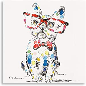 B BLINGBLING Dog Canvas Wall Art Print: Cute Bulldog with Glasses and Bow Knot Canvas Bedroom Decor for Couples Rustic Bathroom Decor with Frame and Easy to Hang (24