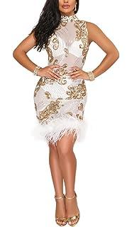 Kearia Women Short Sleeve Deep V-Neck Sequin Split Bodycon Cocktail Party  Dress 3e3b3d6c9