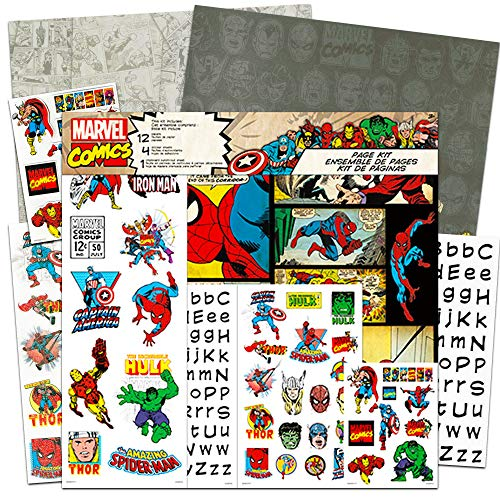 Superhero Scrapbook Paper (Marvel Scrapbook Paper and Stickers Kit ~ Marvel Scrapbooking and Arts and Crafts Supplies with Stickers(Superhero Arts and)