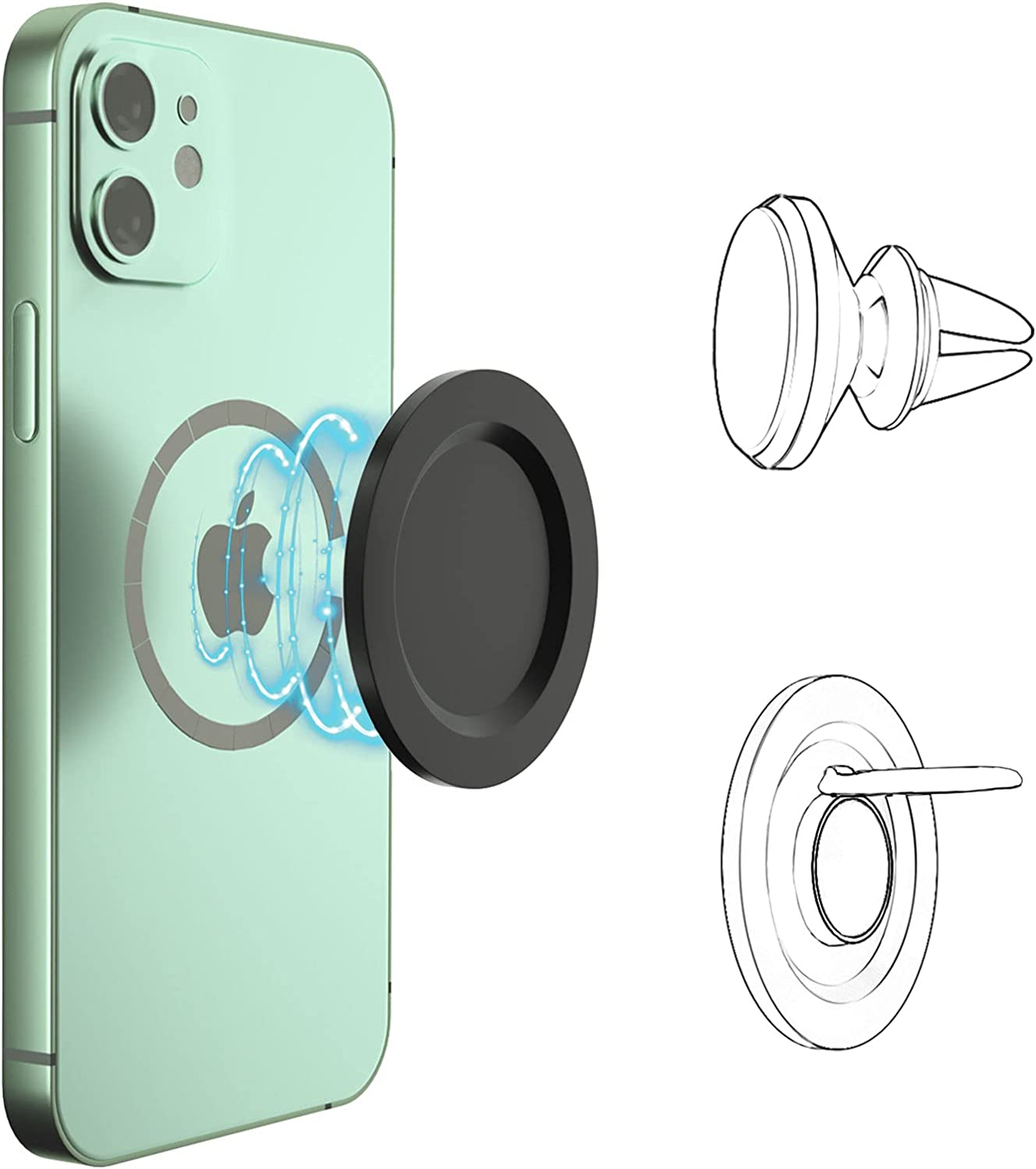 HOMVIDA Magnetic Pop Base Compitable with iPhone 12/Mini/pro/max Wireless Charging Magsafe Accessories for P-Socket Phone Ring Holder Car Mount (Base Only)