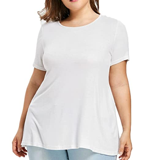 1b7574a0103 MEEYA Plus Size Tee, Fashion Womens O-Neck Short Sleeve Lace Frilled  Ruffles T-Shirt Tops at Amazon Women's Clothing store: