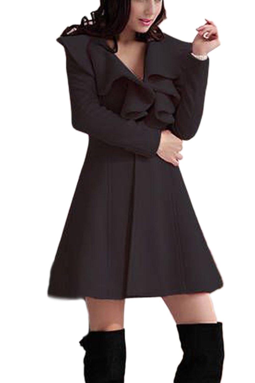 Élégante col v profond trench-coats de la femme