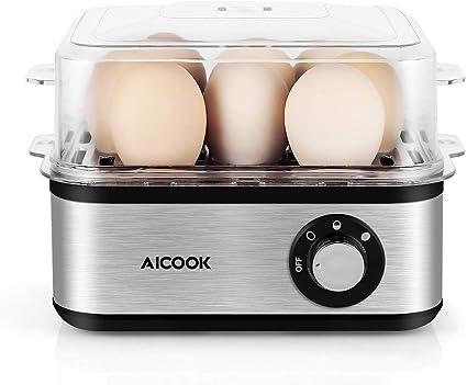 AICOOK - Hornillo de huevo eléctrico de acero inoxidable de 8 capacidades, con apagado automático para huevos duros, suaves, medianos, sin ruido, sin ...
