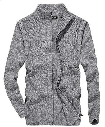 Mens amp;S Sleeve amp;W Zipper Long Full Sweater M Cardigan Winter Gery wZqEWf